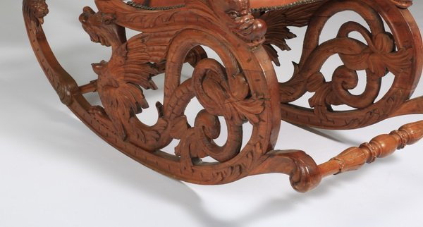19th c. carved Venetian fantasy rocking chair - 3
