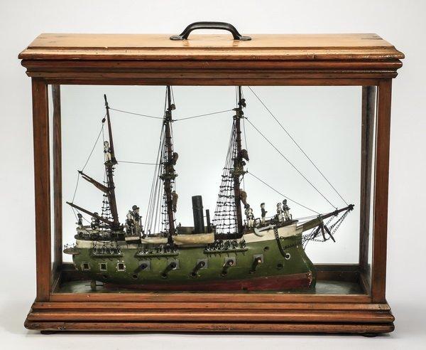 "Model of a three masted frigate, circa 1900, 24""l"