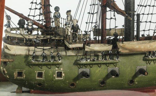 "Model of a three masted frigate, circa 1900, 24""l - 2"