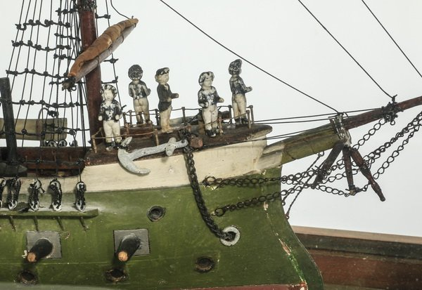 "Model of a three masted frigate, circa 1900, 24""l - 3"