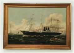 Late 19th c. maritime O/c of Inman Line steamship