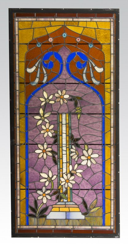 """Leaded stained glass panel with flowers, 77""""h"""