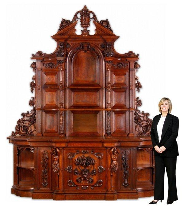 """Finely carved Renaissance Revival oak buffet, 115""""h"""