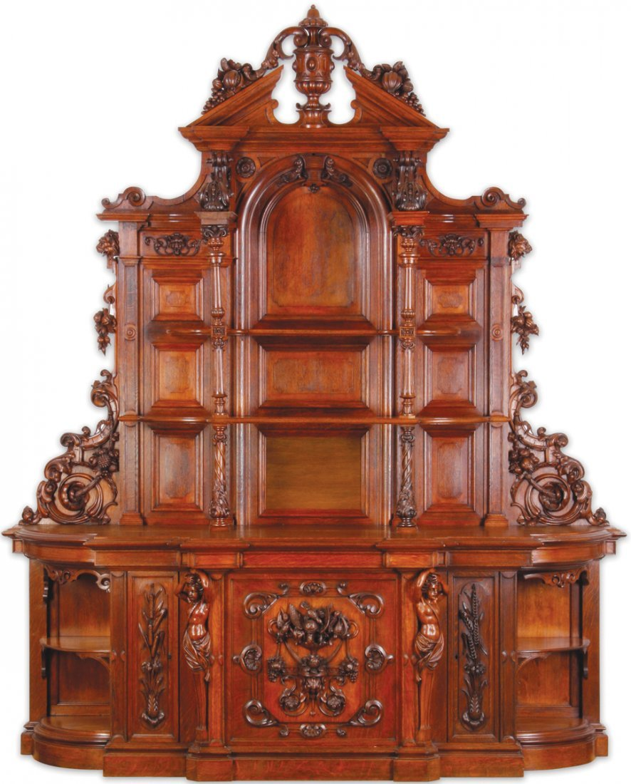 """Finely carved Renaissance Revival oak buffet, 115""""h - 2"""