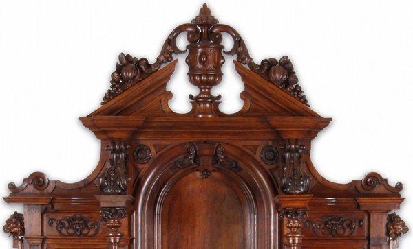 """Finely carved Renaissance Revival oak buffet, 115""""h - 3"""