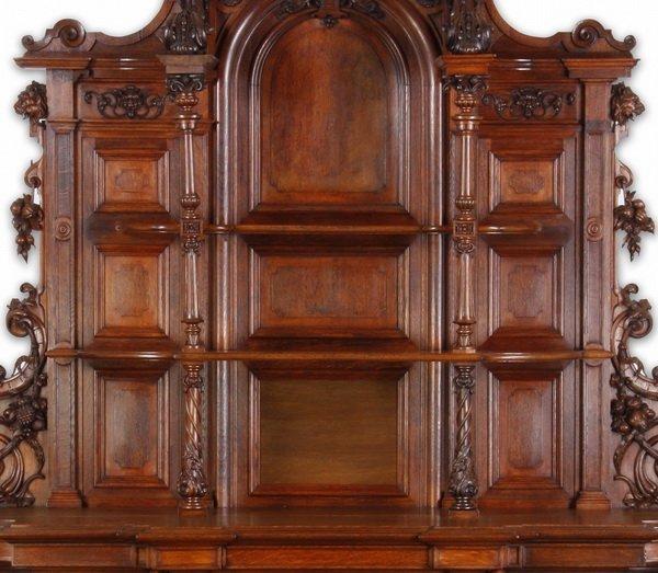 """Finely carved Renaissance Revival oak buffet, 115""""h - 4"""