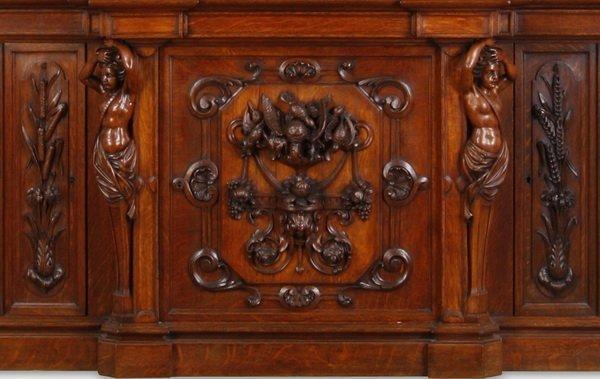 """Finely carved Renaissance Revival oak buffet, 115""""h - 5"""