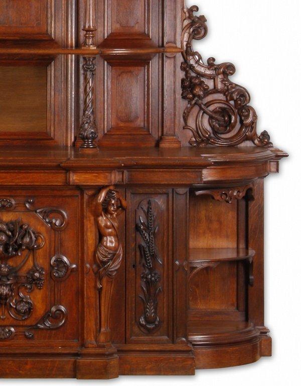 """Finely carved Renaissance Revival oak buffet, 115""""h - 6"""