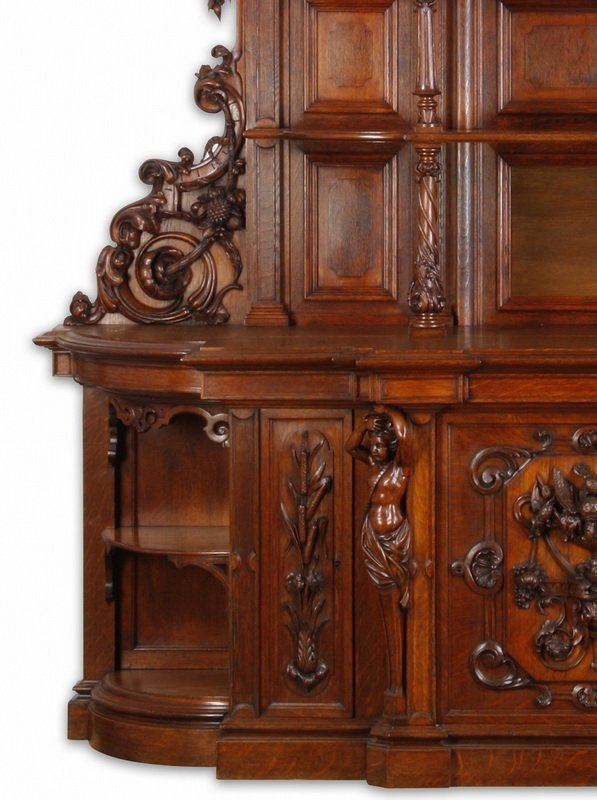 """Finely carved Renaissance Revival oak buffet, 115""""h - 7"""