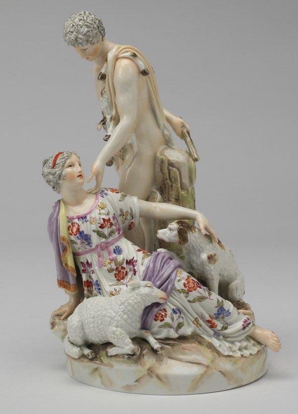 19th c Continental porcelain figurine, Paris & Helena