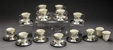 12 Lenox demitasse cups w Gorham sterling zarfs