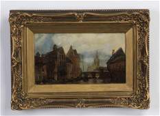 19th c Dutch Op river scene with houses