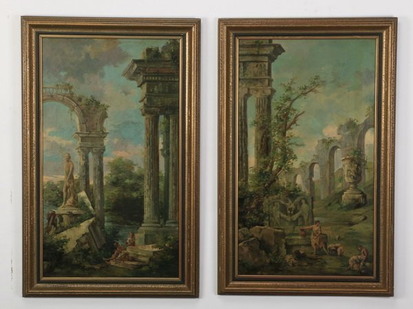 """(2) 19th c. Continental capriccio scenes, 40""""h"""