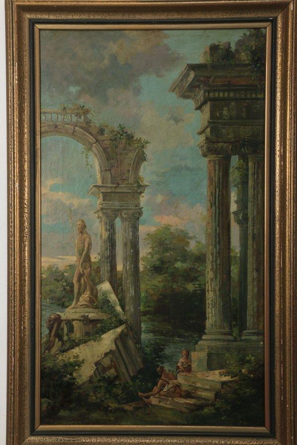 """(2) 19th c. Continental capriccio scenes, 40""""h - 2"""