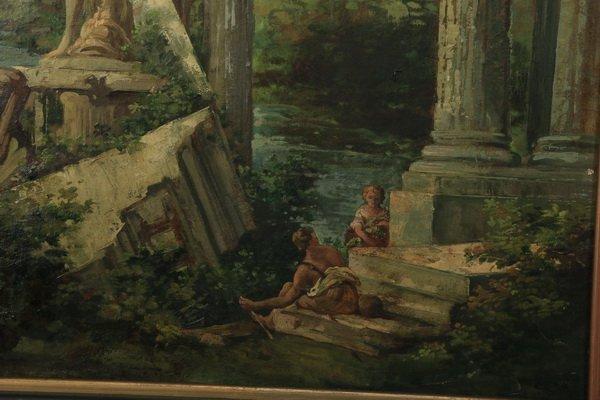 """(2) 19th c. Continental capriccio scenes, 40""""h - 3"""