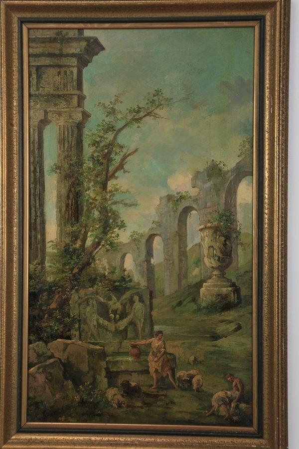 """(2) 19th c. Continental capriccio scenes, 40""""h - 4"""