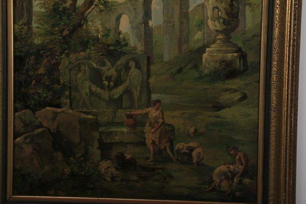"""(2) 19th c. Continental capriccio scenes, 40""""h - 5"""