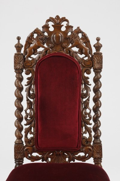 (6) 19th c. Continental carved oak chairs - 4