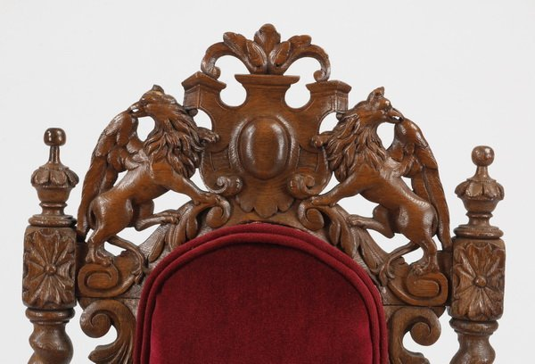 (6) 19th c. Continental carved oak chairs - 5