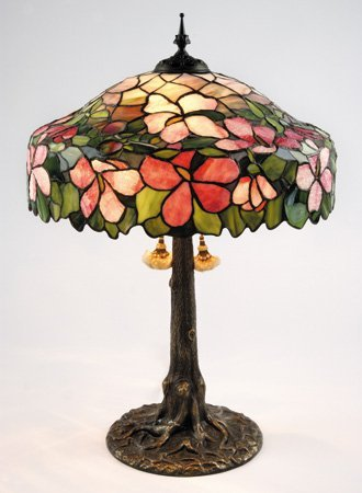 "Early 20th c. American leaded glass lamp, 30""h"