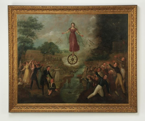 """19th c. Spanish Colonial allegorical O/c, 57""""w"""
