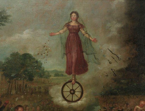 """19th c. Spanish Colonial allegorical O/c, 57""""w - 2"""