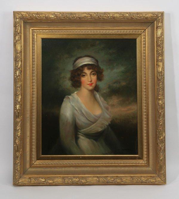 """Edwardian style half portrait, O/c, signed, 35""""h"""