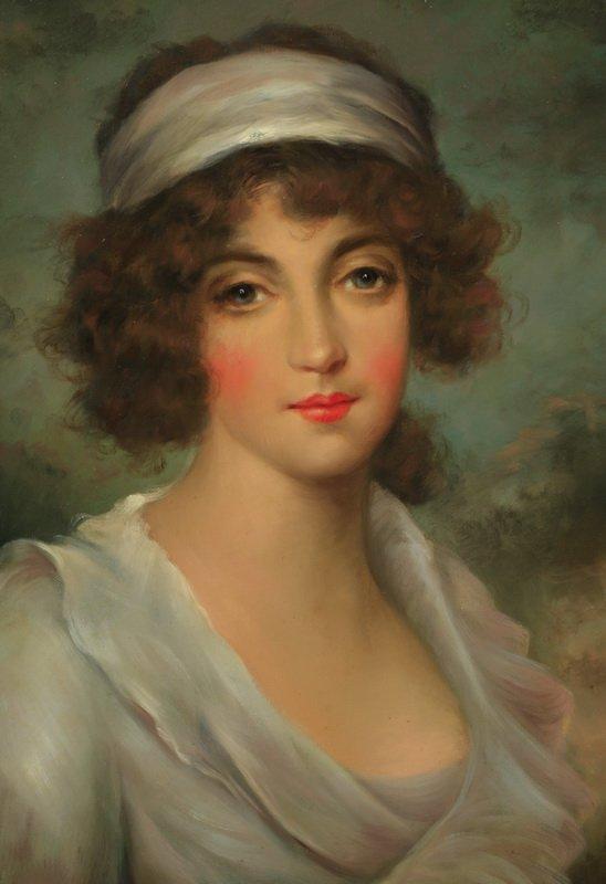 """Edwardian style half portrait, O/c, signed, 35""""h - 2"""