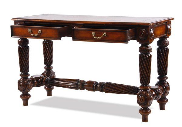 Carved console table with leather top - 2