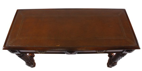 Carved console table with leather top - 3