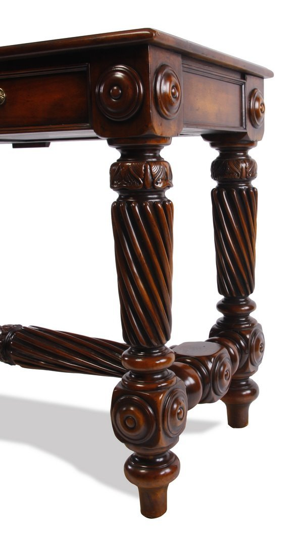 Carved console table with leather top - 4