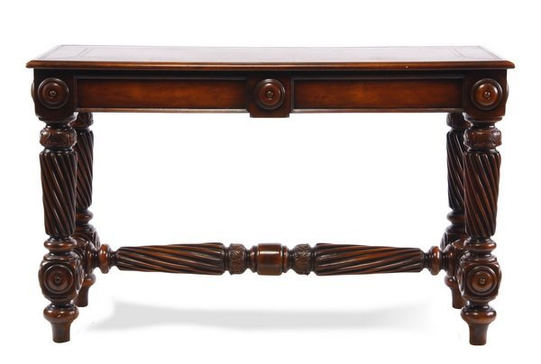 Carved console table with leather top - 5
