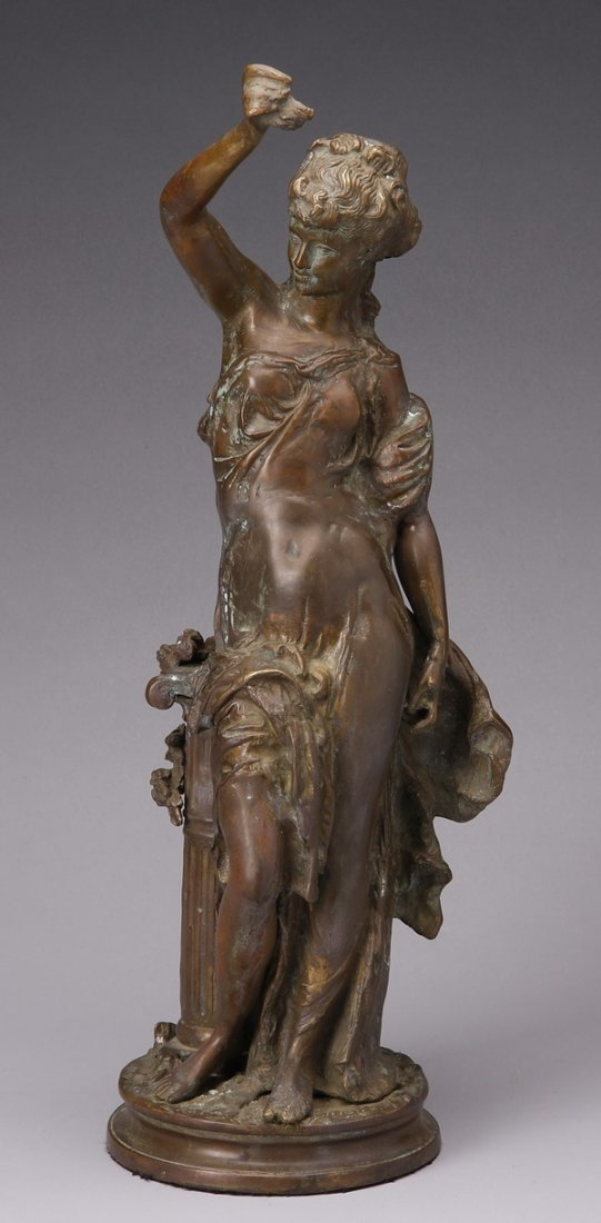 "Early 20th c. bronze figural sculpture, 22""h"