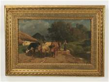 "19th c. Jules Didier (French) O/c rural scene, 36""w"