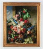 "Oversized oil on canvas floral still life, 46""h"