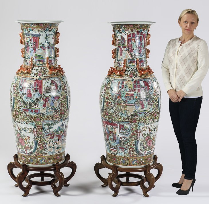 """(2) Chinese Rose Canton floor vases, 54""""h"""