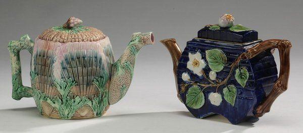 "(2) Majolica teapots incl. Wedgwood, 7""h"