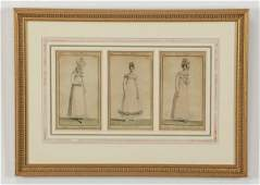 Late 19th c. French fashion plate colored etchings