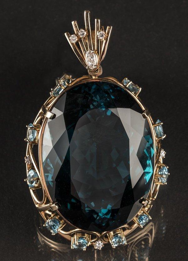 Spectacular 300cts plus, topaz & diamond pendant