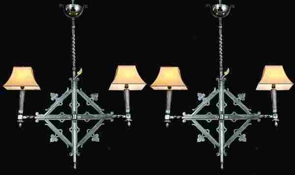 (2) 19th c French wrought iron pendant lights