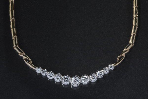 "Contemporary 1.5ctw diamond & 14k gold necklace, 17""l"