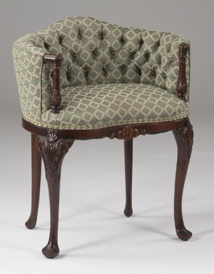 Mahogany venity chair with tufted upholstery