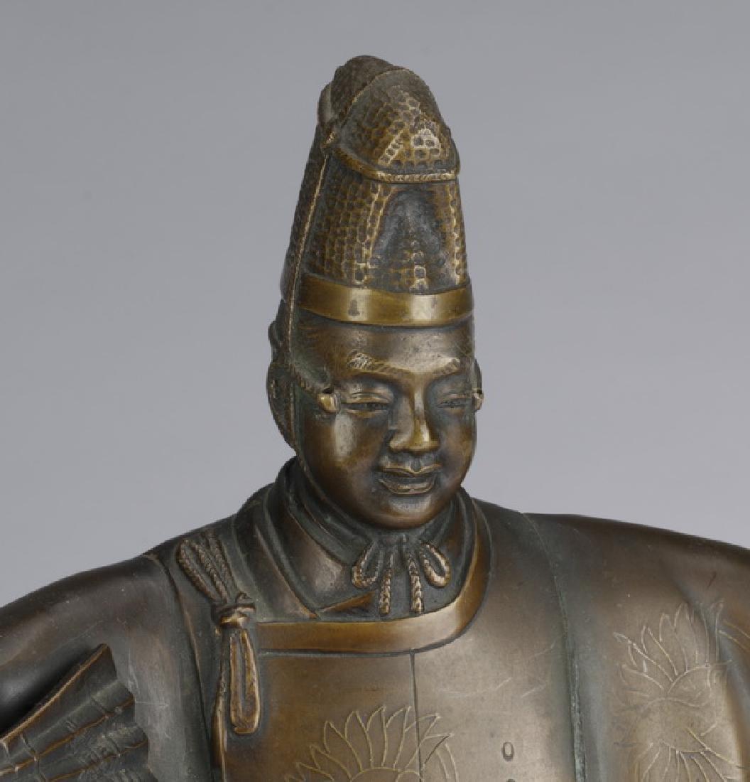 Japanese bronze 'Noh' figure w/ mask, signed - 5