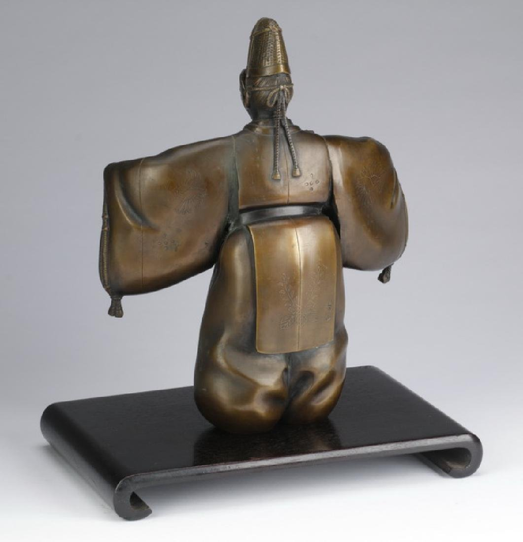 Japanese bronze 'Noh' figure w/ mask, signed - 6