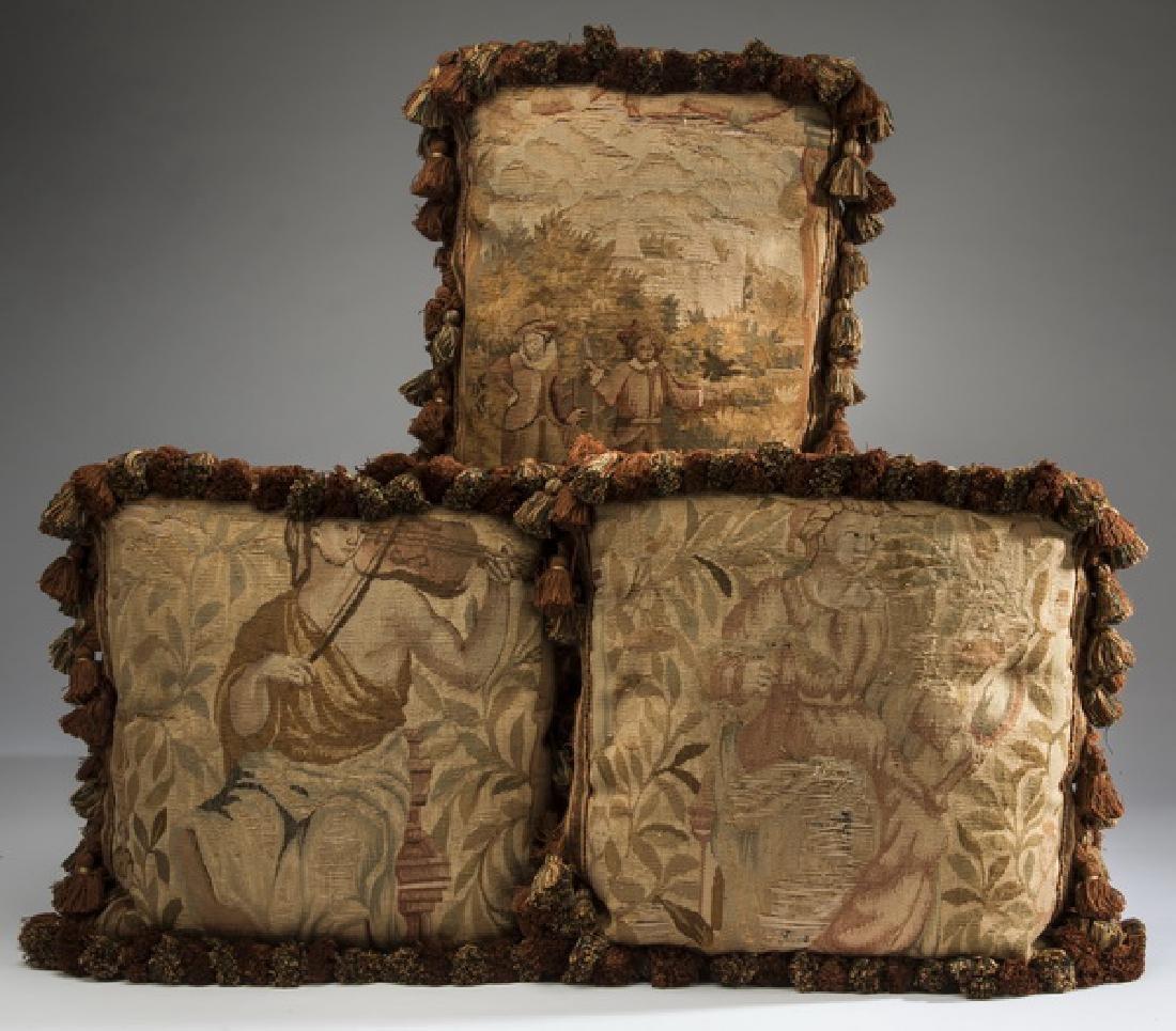 (3) Custom made Aubusson tapestry fragment pillows