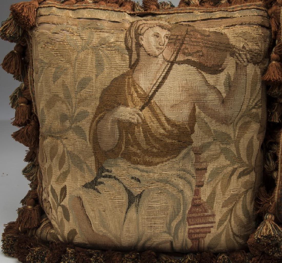 (3) Custom made Aubusson tapestry fragment pillows - 2