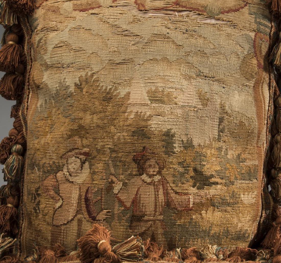 (3) Custom made Aubusson tapestry fragment pillows - 3