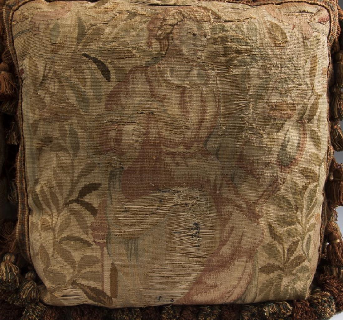 (3) Custom made Aubusson tapestry fragment pillows - 4