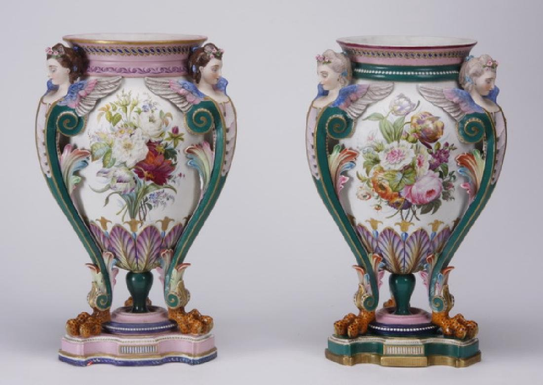 (2) Jean Gille hand painted French bisque urns marked
