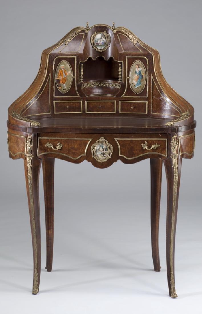 """Louis XV style marquetry bureau à rognon, 50""""h"""